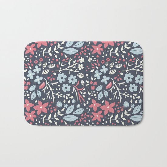 Floral pattern with doodles of flowers and leaves Bath Mat
