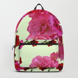 CONTEMPORARY ART RED & PINK GARDEN ROSES PATTERN Backpack