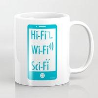 sci fi Mugs featuring Hi Fi Wi Fi Sci Fi by Seedoiben