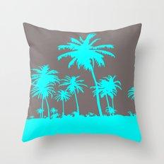 Turquoise Palm Trees Throw Pillow
