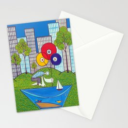 Puddle Fishing for Dreams Stationery Cards