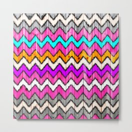 Andes Tribal Aztec Pink chevron Ikat wood pattern Metal Print