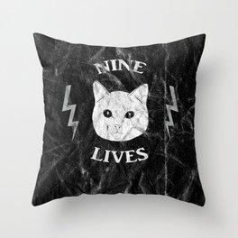 Nine Lives Black Background Throw Pillow