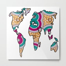 Pink Blue African World Map Metal Print
