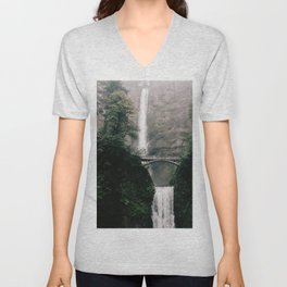 Multnomah Falls Waterfall in October - Landscape Photography Unisex V-Neck