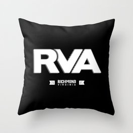 "Rva Logo - White | "" Striped Outline "" Throw Pillow"