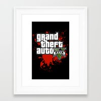 grand theft auto Framed Art Prints featuring grand theft auto 5 by Dan Solo Galleries