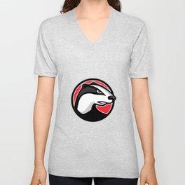 Badger Head Circle Mascot Unisex V-Neck