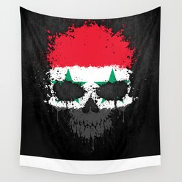 Flag of Syria on a Chaotic Splatter Skull Wall Tapestry