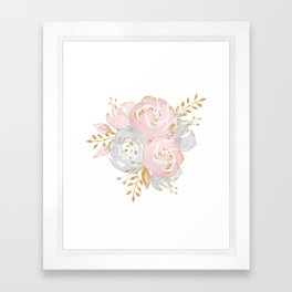 Roses Gold Glitter Pink by Nature Magick Framed Art Print