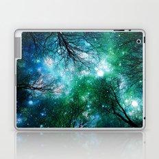 Black Trees Teal Green Space Laptop & iPad Skin