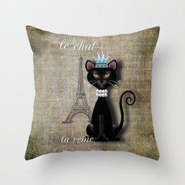 Le Chat, La Reine - The Cat, The Queen Throw Pillow