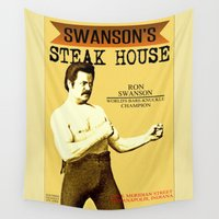 parks and recreation Wall Tapestries featuring Ron Swanson  |  Steak House Parody |  Parks and Recreation by Silvio Ledbetter