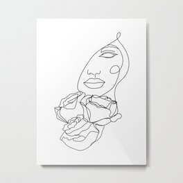 Female Face with Roses in One Line Metal Print