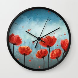 Poppy flowers - Misty Forest Wall Clock