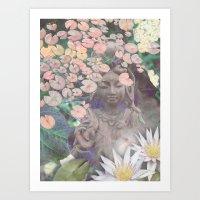 budi satria kwan Art Prints featuring Reflections - Zen Garden Kwan Yin Goddess Art by Fusion Idol