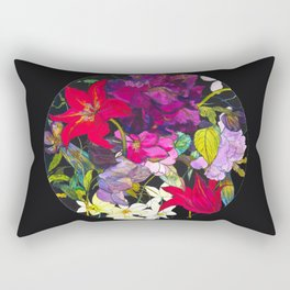 Black Parrot Tulips Rectangular Pillow