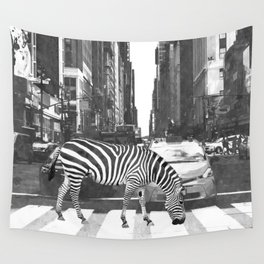 Black and White Zebra in NYC Wall Tapestry