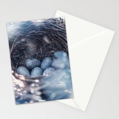 Nest of thrush with blue eggs Stationery Cards