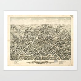 Vintage Pictorial Map of Peabody MA (1877) Art Print