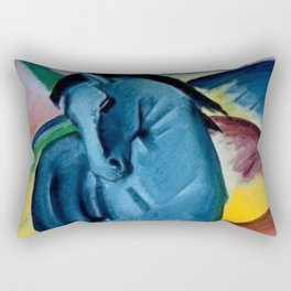 Colorful Blue Horse Friesian portrait horses painting by Franz Marc Rectangular Pillow