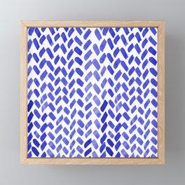 Cute watercolor knitting pattern - blue Framed Mini Art Print