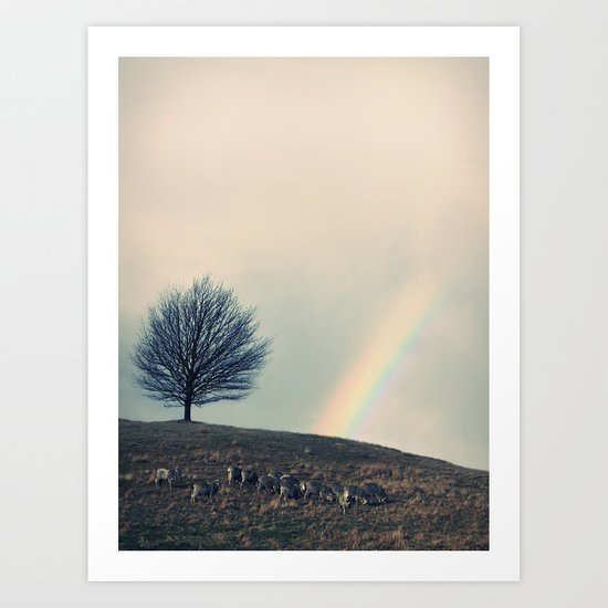 Chasing rainbows and counting sheep. Same thing really. Art Print