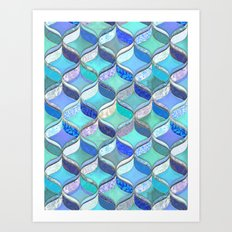 Patchwork Ribbon Ogee Pattern in Blues & Greens Art Print