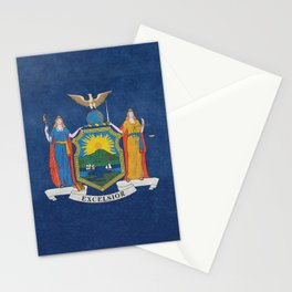 New York State Flag, vintage retro style Stationery Cards