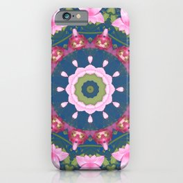 Flower-Mandala, blue pink, Spring blossoms iPhone Case