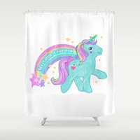 my little pony Shower Curtains featuring My Little Pony Unicorn by lolia