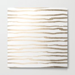 White Gold Sands Painted Lines Metal Print