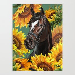 Horse with Sunflowers Poster