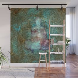Watercolor Mandala Buddha in Galaxy Wall Mural