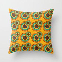 1970's Retro Circles Design Orange Brown & Blue Throw Pillow
