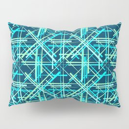 Intersecting light lead lines with a diagonal blue on a dark background. Pillow Sham