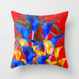 YELLOW & AZURE BLUE CALLA LILIES RED ART Throw Pillow