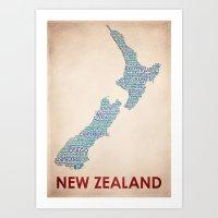 new zealand Art Prints featuring New Zealand by Wordmaps