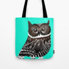 Big Eyed Owl With Aqua Background Tote Bag
