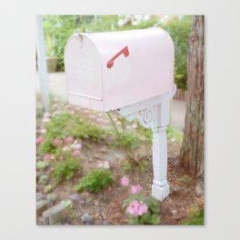 Shabby Chic Pink Mailbox Garden Cottage Decor Wall Art Prints Canvas Print