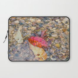 Red Leaf Stuck Among Watery Rocks Laptop Sleeve