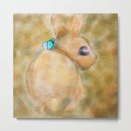Bunny Illustration Metal Print