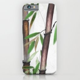 Bamboo Forest on patterned cloth iPhone Case