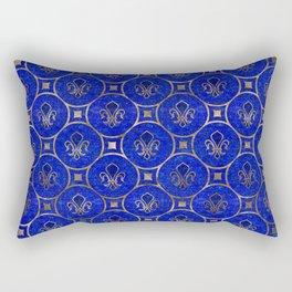 Fleur-de-lis pattern - Lapis Lazuli and Gold Rectangular Pillow