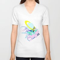postcard V-neck T-shirts featuring Alien Postcard by Viga Victoria Gadson