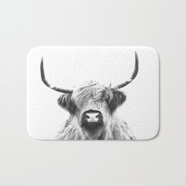 Black and White Highland Cow Portrait Bath Mat