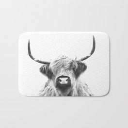 Black and White Highland Cow Portrait Bath Mat
