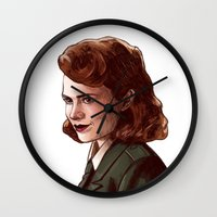 peggy carter Wall Clocks featuring Miss Carter by Kelslk