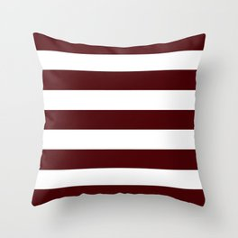 Dark chocolate - solid color - white stripes pattern Throw Pillow