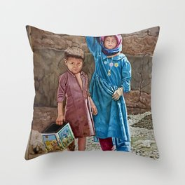 Oil painting 2 kids Childhood is miserable but responsible and stubbornly resisting despair Throw Pillow
